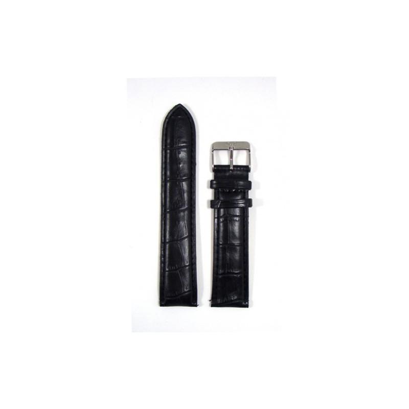 Original Bergmann Genuine Lederarmband schwarz in Kroko-Optik, 22mm