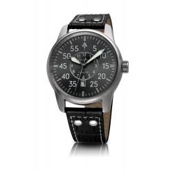 Bergmann-Uhr Pilot 02 Kroko Schwarz