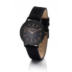 Bergmann-Uhr Cor Schwarz Schwarz  Wildlederarmband