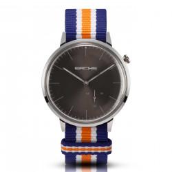 Sachs Damen Herren Armbanduhr Analog Quarz Silber graues Zifferblatt Textilarmband Azul