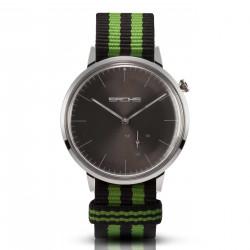 Sachs Damen Herren Armbanduhr Analog Quarz Silber graues Zifferblatt Textilarmband Preto verde