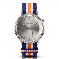 Sachs Damen Herren Armbanduhr Analog Quarz Silber silbernes Zifferblatt Textilarmband Azul