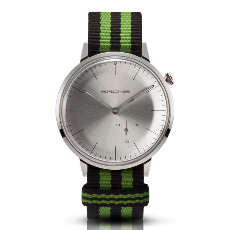 Sachs Damen Herren Armbanduhr Analog Quarz Silber silbernes Zifferblatt Textilarmband Preto verde