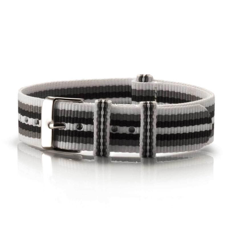 Textil-Armband Branco Preto weiß-grau-schwarz