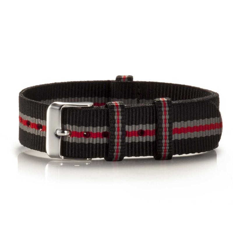 Textil-Armband Pretored schwarz-grau-rot
