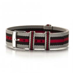 Textil-Armband Chinzo Preto grau-schwarz-rot