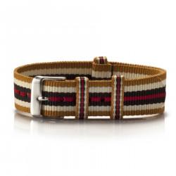 Textil-Armband Ouro gold-weiß-braun-rot