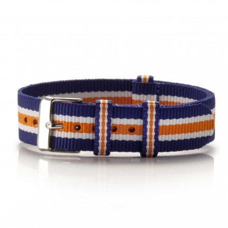 Textil-Armband Azul blau-weiß-orange