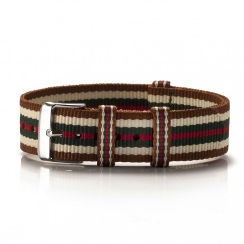 Textil-Armband Bege braun-weiß-grün-rot