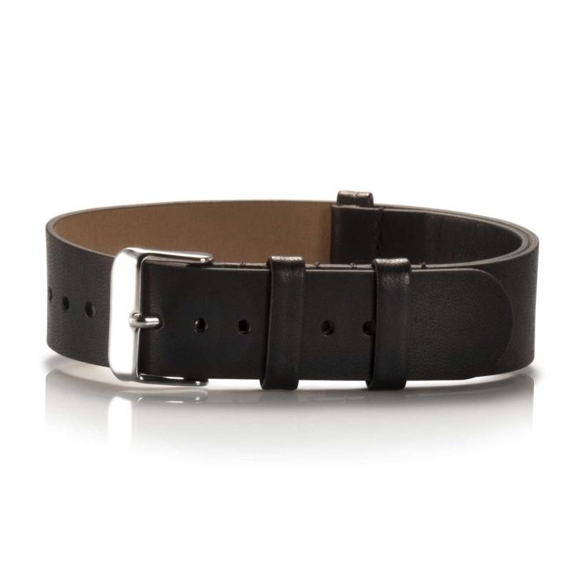 schwarzes Lederuhrenarmband mit silberfarbenem Verschluß