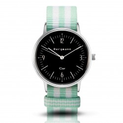 Bergmann Damen Herren Armbanduhr Cor silber Minzo Analog Quarz schwarzes Zifferblatt mint-weiß-gestreiftes NATO-Nylonarmband