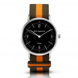 Bergmann Damen Herren Armbanduhr Cor silber Olivia Analog Quarz schwarzes Zifferblatt oliv-orange-gestreiftes NATO-Nylonarmband