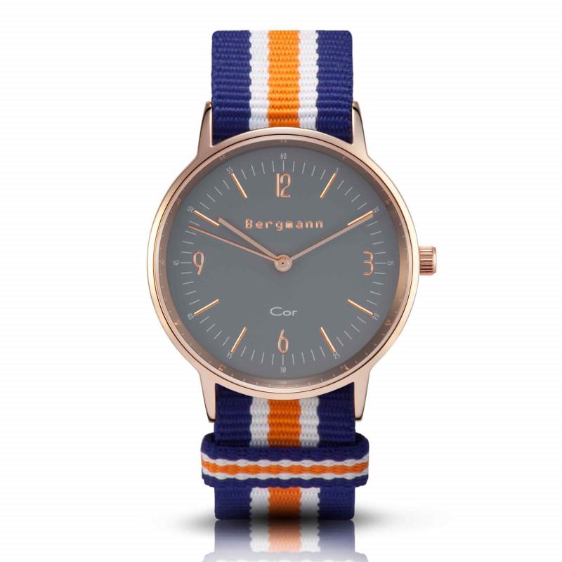 Bergmann Damen Herren Armbanduhr Cor kupfer Azul Analog Quarz graues Zifferblatt blau-weiß-orange-gestreiftes NATO-Nylonarmband