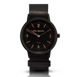 Bergmann Damen Herren Armbanduhr Cor schwarz Analog Quarz schwarzes Zifferblatt schwarzes Lederarmband