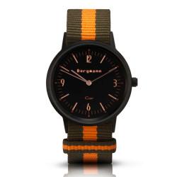 Bergmann Damen Herren Armbanduhr Cor schwarz Olivia Analog Quarz schwarzes Zifferblatt oliv-orange-gestreiftes NATO-Nylonarmband
