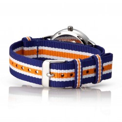 Bergmann Damen Herren Armbanduhr Cor silber Azul Analog Quarz graues Zifferblatt blau-weiß-orange-gestreiftes NATO-Nylonarmband
