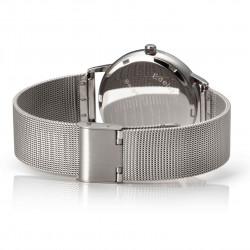 Bergmann Damen Herren Armbanduhr Cor silber Analog Quarz graues Zifferblatt silberfarbenes Milanaisearmband