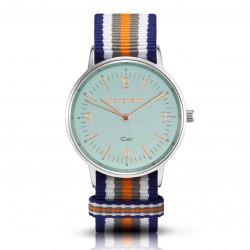 Bergmann Damen Herren Armbanduhr Cor silber Colorido Analog Quarz blaues Zifferblatt blau-weiß-grau-orange-NATO-Armband