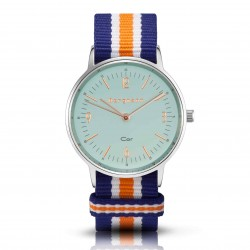 Bergmann Damen Herren Armbanduhr Cor silber Azul Analog Quarz blaues Zifferblatt blau-weiß-orange-NATO-Armband