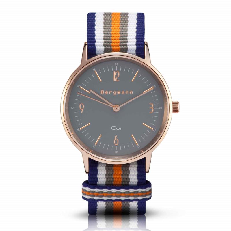Bergmann Damen Herren Armbanduhr Cor kupfer Colorido Analog Quarz graues Zifferblatt blau-weiß-grau-orange-NATO-Armband