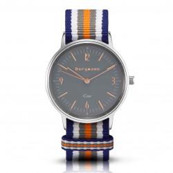 Bergmann Damen Herren Armbanduhr Cor silber Colorido Analog Quarz graues Zifferblatt blau-weiß-grau-orange-NATO-Armband