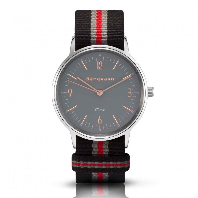 Bergmann Damen Herren Armbanduhr Cor silber Preto red Analog Quarz graues Zifferblatt schwarz-grau-rot-NATO-Armband