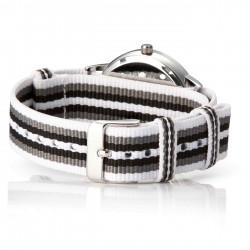Bergmann Damen Herren Armbanduhr Cor silber Branco preto Analog Quarz graues Zifferblatt weiß-grau-schwarz-NATO-Armband