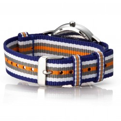 Bergmann Damen Herren Armbanduhr Cor silber Colorido Analog Quarz rosafarbenes Zifferblatt blau-weiß-grau-orange-NATO-Armband