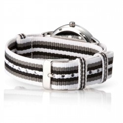 Bergmann Damen Herren Armbanduhr Cor silber Branco preto Analog Quarz rosa Zifferblatt weiß-grau-schwarz-NATO-Armband