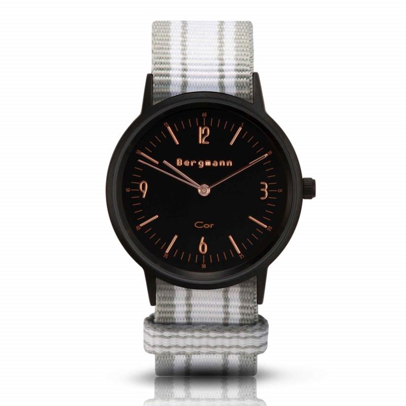 Bergmann Damen Herren Armbanduhr Cor schwarz Chinza Analog Quarz schwarzes Zifferblatt grau-schwarz-rot-NATO-Armband