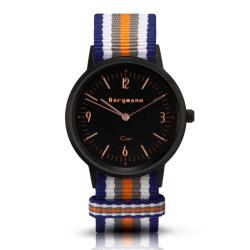 Bergmann Damen Herren Armbanduhr Cor schwarz Colorido Analog Quarz schwarzes Zifferblatt blau-weiß-grau-orange-NATO-Armband