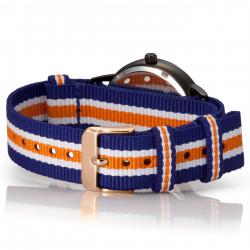 Bergmann Damen Herren Armbanduhr Cor schwarz Azul Analog Quarz schwarzes Zifferblatt blau-weiß-orange-NATO-Armband