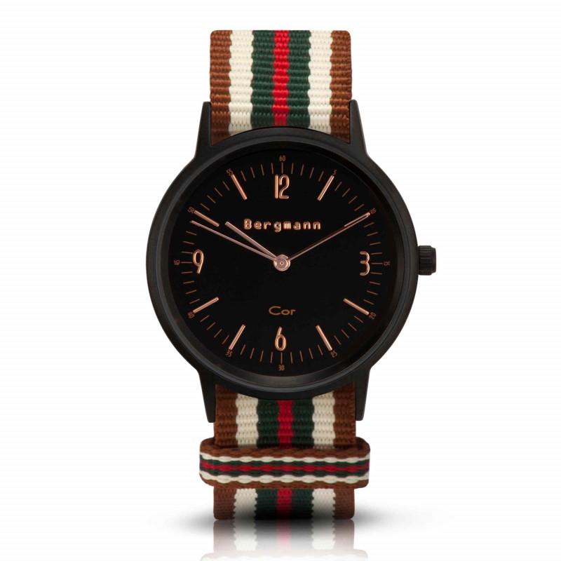 Bergmann Damen Herren Armbanduhr Cor schwarz Bege Analog Quarz schwarzes Zifferblatt braun-weiß-grün-rot-NATO-Armband