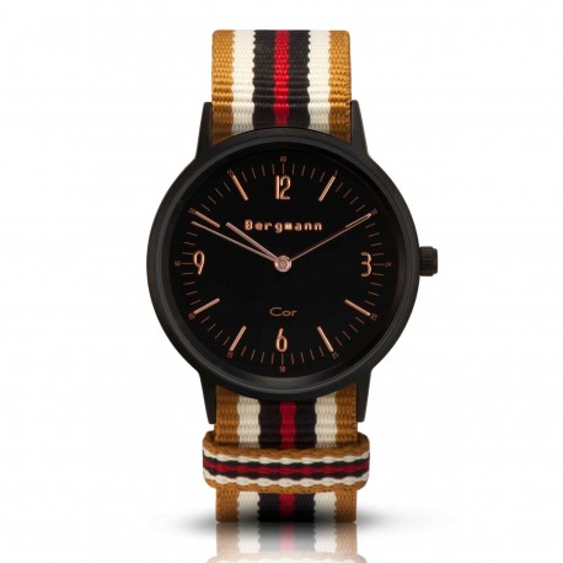Bergmann Damen Herren Armbanduhr Cor schwarz Ouro Analog Quarz schwarzes Zifferblatt gold-weiß-braun-rot-NATO-Armband