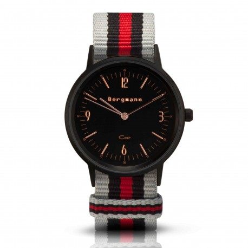 Bergmann Damen Herren Armbanduhr Cor schwarz Chinza preto Analog Quarz schwarzes Zifferblatt grau-schwarz-rot-NATO-Armband