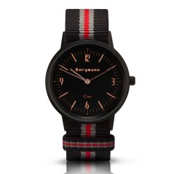 Bergmann Damen Herren Armbanduhr Cor schwarz Preto red Analog Quarz schwarzes Zifferblatt schwarz-grau-rot-NATO-Armband