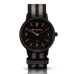 Bergmann Damen Herren Armbanduhr Cor schwarz Preto grey Analog Quarz schwarzes Zifferblatt schwarz-grau-NATO-Armband