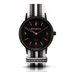 Bergmann Damen Herren Armbanduhr Cor schwarz Branco preto Analog Quarz schwarzes Zifferblatt weiß-grau-schwarz-NATO-Armband