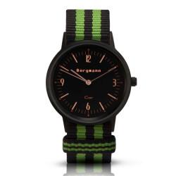 Bergmann Damen Herren Armbanduhr Cor schwarz Preto verde Analog Quarz schwarzes Zifferblatt schwarz-grün-NATO-Armband