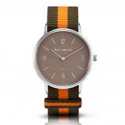 Bergmann Damen Herren Armbanduhr Cor silber Olivia Analog Quarz sandfarbenes Zifferblatt oliv-orange-NATO-Armband