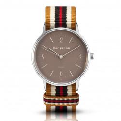 Bergmann Damen Herren Armbanduhr Cor silber Ouro Analog Quarz sandfarbenes Zifferblatt gold-weiß-braun-rot-NATO-Armband