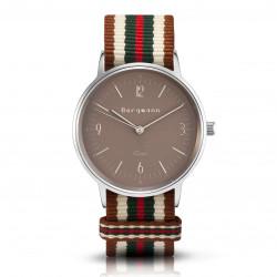 Bergmann Damen Herren Armbanduhr Cor silber Bege Analog Quarz sandfarbenes Zifferblatt braun-weiß-grün-rot-NATO-Armband