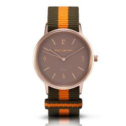 Bergmann Damen Herren Armbanduhr Cor kupfer Olivia Analog Quarz sandfarbenes Zifferblatt oliv-orange-NATO-Armband