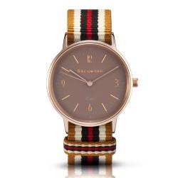 Bergmann Damen Herren Armbanduhr Cor kupfer Ouro Analog Quarz sandfarbenes Zifferblatt gold-weiß-braun-rot-NATO-Armband