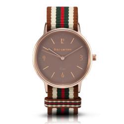 Bergmann Damen Herren Armbanduhr Cor kupfer Bege Analog Quarz sandfarbenes Zifferblatt braun-weiß-grün-rot-NATO-Armband