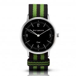 Bergmann Damen Herren Armbanduhr Cor silber Preto verde Analog Quarz schwarzes Zifferblatt schwarz-grün-NATO-Armband