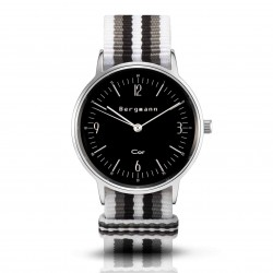 Bergmann Damen Herren Armbanduhr Cor silber Branco preto Analog Quarz schwarzes Zifferblatt weiß-grau-schwarz-NATO-Armband