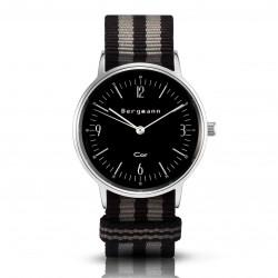 Bergmann Damen Herren Armbanduhr Cor silber Preto grey Analog Quarz schwarzes Zifferblatt schwarz-grau-NATO-Armband