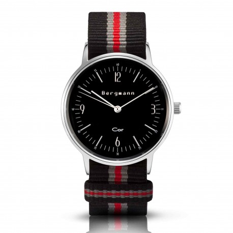 Bergmann Damen Herren Armbanduhr Cor silber Preto red Analog Quarz schwarzes Zifferblatt schwarz-grau-rot-NATO-Armband