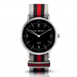 Bergmann Damen Herren Armbanduhr Cor silber Chinza preto Analog Quarz schwarzes Zifferblatt grau-schwarz-rot-NATO-Armband